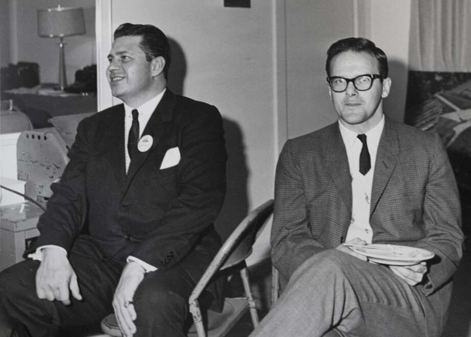 Bud Adams, left, and Dallas Texans / Kansas City Chiefs owner Lamar Hunt are shown in this undated photo. Photo: Photo Courtesy Bud Adams