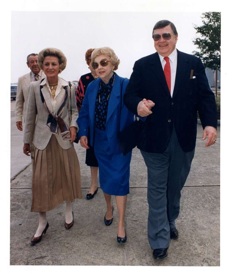 From right to left: Bud Adams and wife, Nancy Adams and entourage arrive for an Oilers- Falcons game at the Astrodome in 1987. Photo: Houston Chronicle File Photo