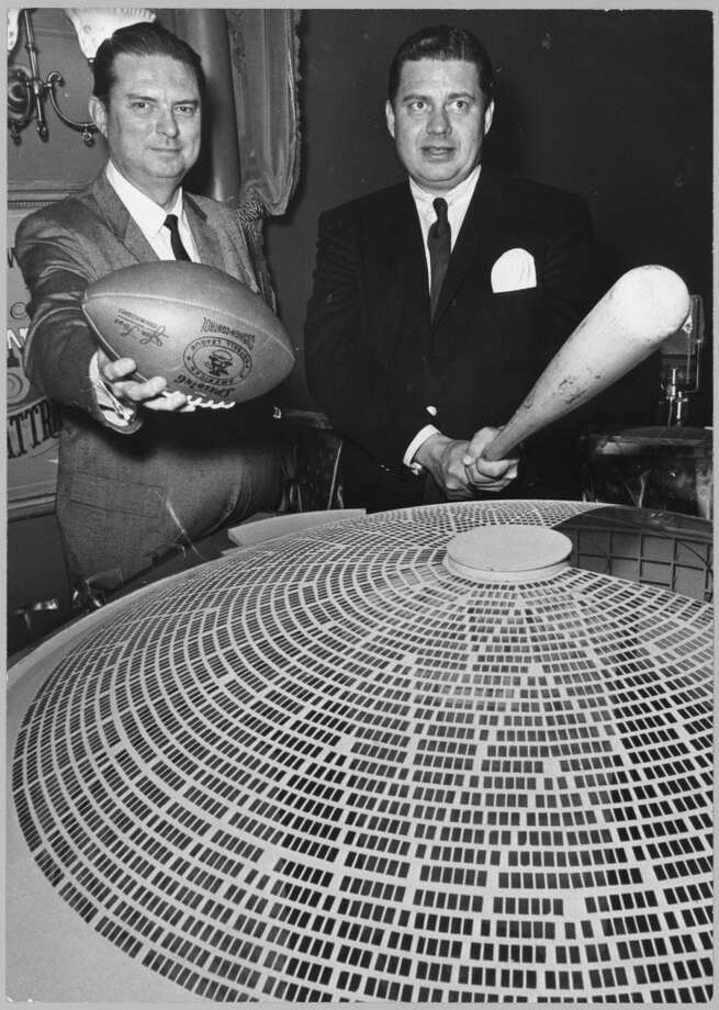 Roy Hofheinz, left, and Kenneth S. (Bud) Adams in front of a model of the Astrodome. Photo: Richard Pipes, Houston Chronicle File Photo