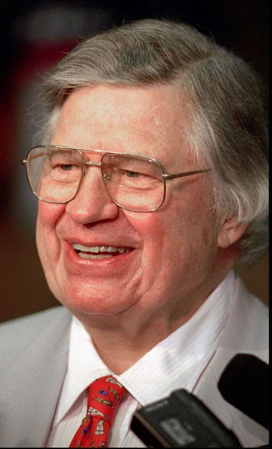 Bud Adams answers reporters' questions in this 1997 photos. Photo: Mark Humphrey, Associated Press