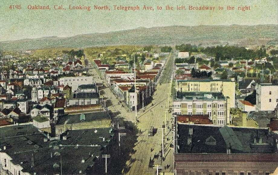 Oakland, CA looking north, Telegraph Avenue to the left, Broadway to the right (ca. 1910-15).