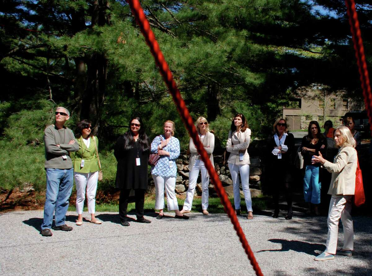 Laura Einstein directs a tour at the first Community Day held at Philip Johnson's Glass House, last spring, in New Canaan, Conn.