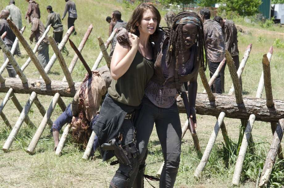 Maggie Greene (Lauren Cohan) and Michonne (Danai Gurira) - The Walking Dead _ Season 4, Episode 2 - Photo Credit: Gene Page/AMC