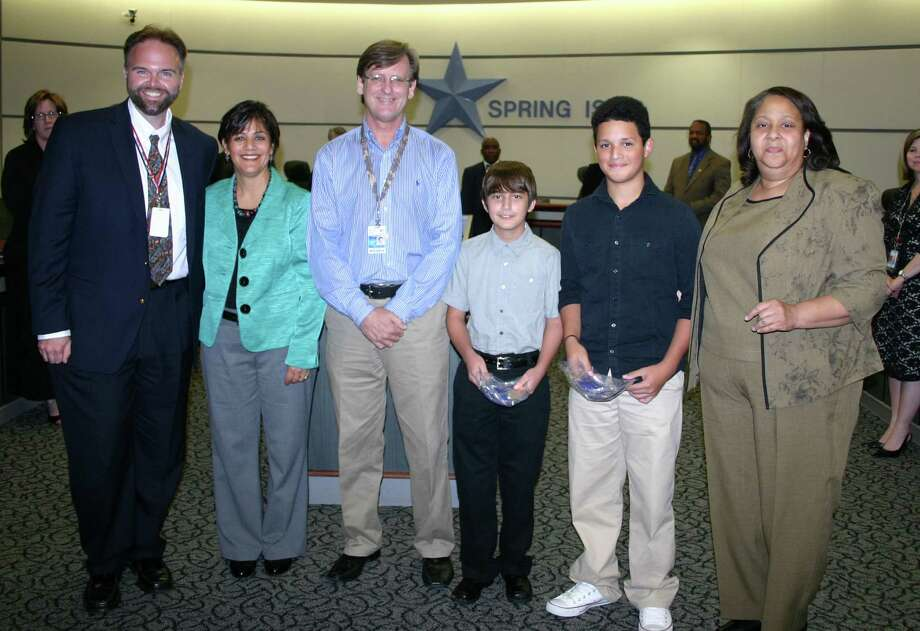 Representing the Bailey Middle School Percussion Ensemble at the Spring ISD board meeting in October are, from left, Joe Clark, Veronica Vijil, Vic Flower, Anthony Cook, AJ Engram and Justine Durant. Photo: Photo Courtesy Of Spring Independent School District