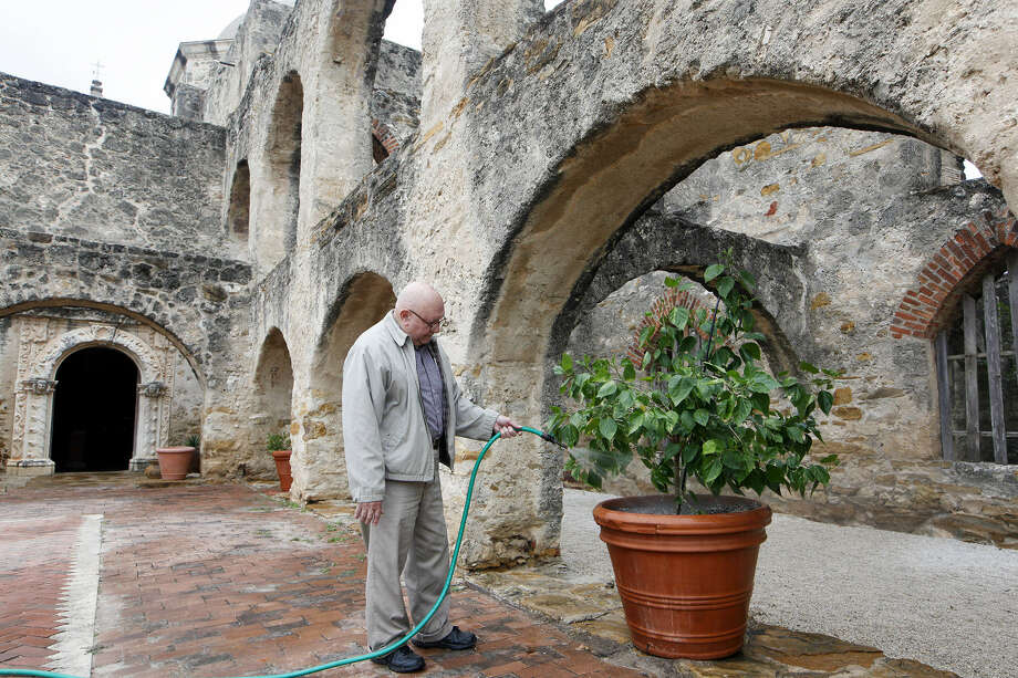Parishioner Willie Acuña waters a plant Monday outside Mission San José. He helped during the shutdown. Photo: Marvin Pfeiffer / Southside Reporter