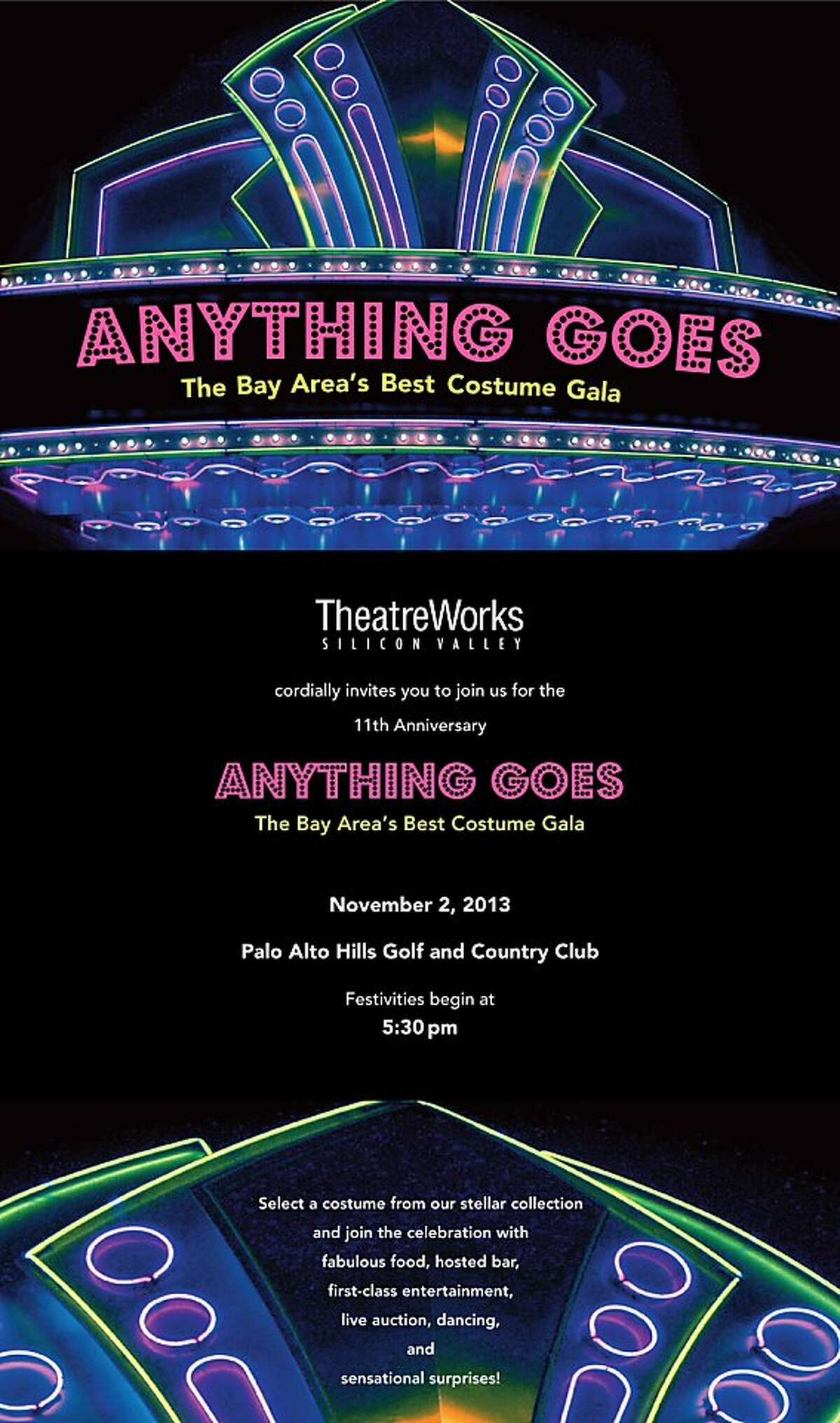 TheatreWorks of Palo Alto's annual gala will be held on Nov. 2, 2013, at the Palo Alto Golf and Hills Country Club. It will be hosted by Golden Globe Award-winner and three-time Emmy-nominee Bill Grundfest. Tickets are $300 to $500 each at events@theatreworks.org.