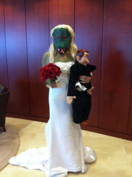 Sarah Lopez as Bridezilla! With her tiny new husband...