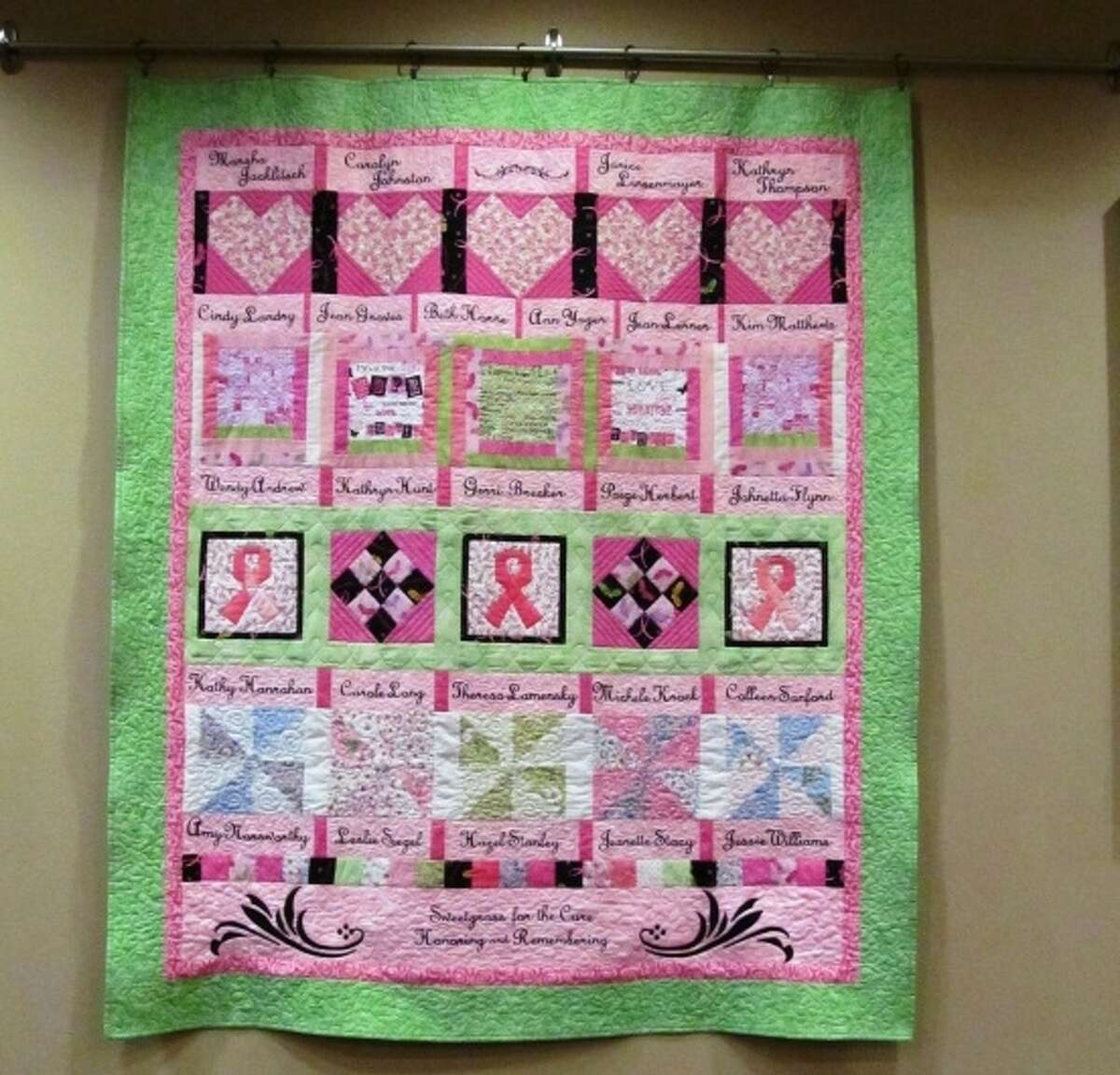 This quilt was handcrafted by two Sweetgrass residents to honor and remember Sweetgrass residents who have battled breast cancer. The quilt raised $650 for Susan G. Komen for the Cure.