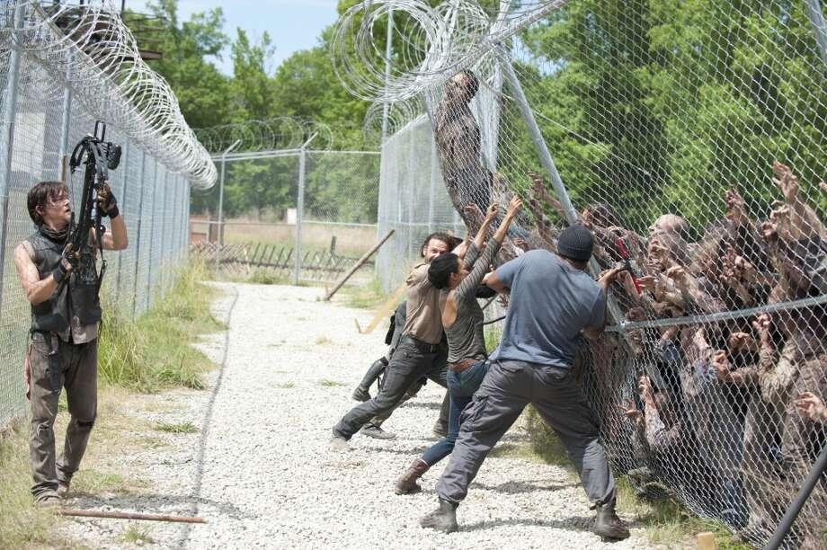 Daryl Dixon (Norman Reedus), Rick Grimes (Andrew Lincoln), Sasha (Sonequa Martin-Green) and Tyreese (Chad Coleman) - The Walking Dead _ Season 4, Episode 2 - Photo Credit: Gene Page/AMC