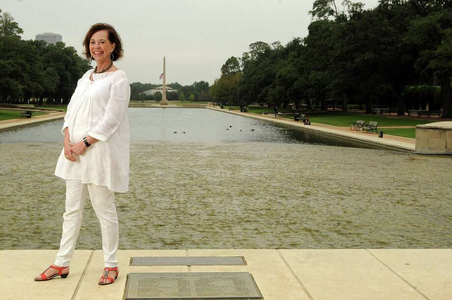 Artist Yvonne Domenge stands near the entrance to Hermann Park Wednesday Oct. 15,2013. A sculpture by Domenge will soon be placed near the park's main entrance. (Dave Rossman photo) Photo: Dave Rossman, Freelance / © 2013 Dave Rossman