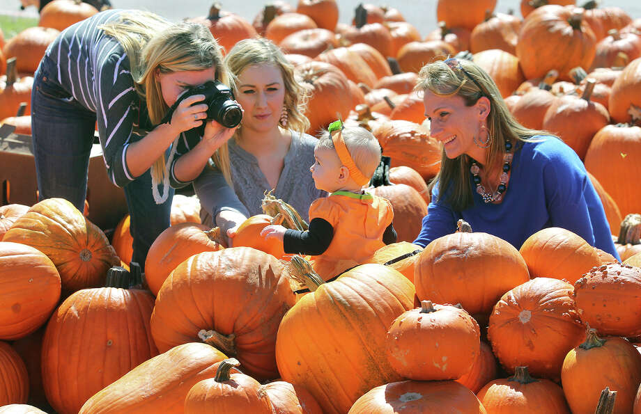 Baby Kinsi Hylinski finds herself the center of attention in the Gruene United Methodist Church pumpkin patch as photographer (from left) Ashleigh Jacobsmeyer, mother Lauren Hylinski and grandmother Brenda Wallsmith take pictures of her.