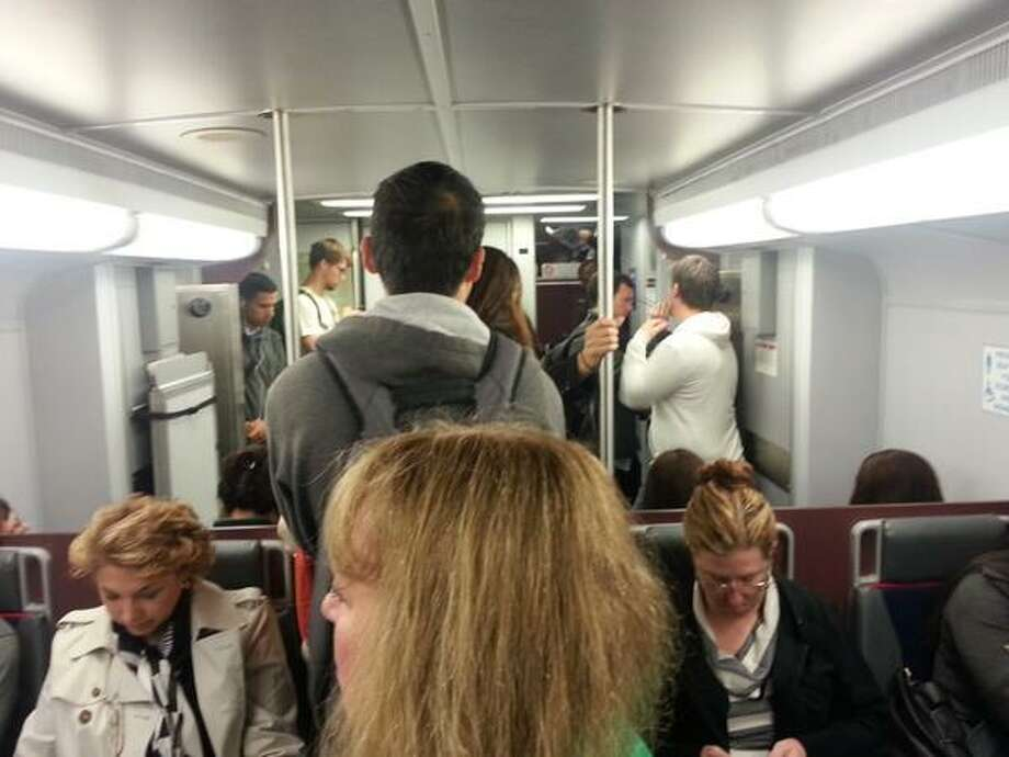 @cleslieFFDC Standing room only on northbound Caltrain. #mycommutesucks #thanksbart Photo: Courtney Leslie, Courtesy Photo