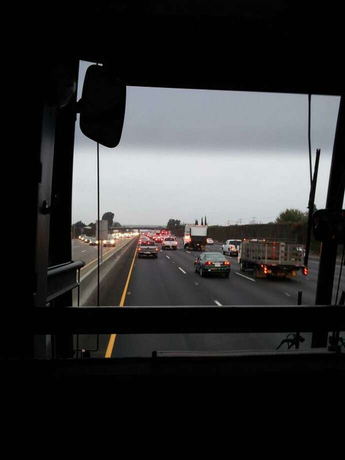 @kolympia A sea of red lights facing my @SFBART bus commute during the BART strike. #mycommutesucks #getittogetherpeople Photo: K Olympia, Courtesy Photo