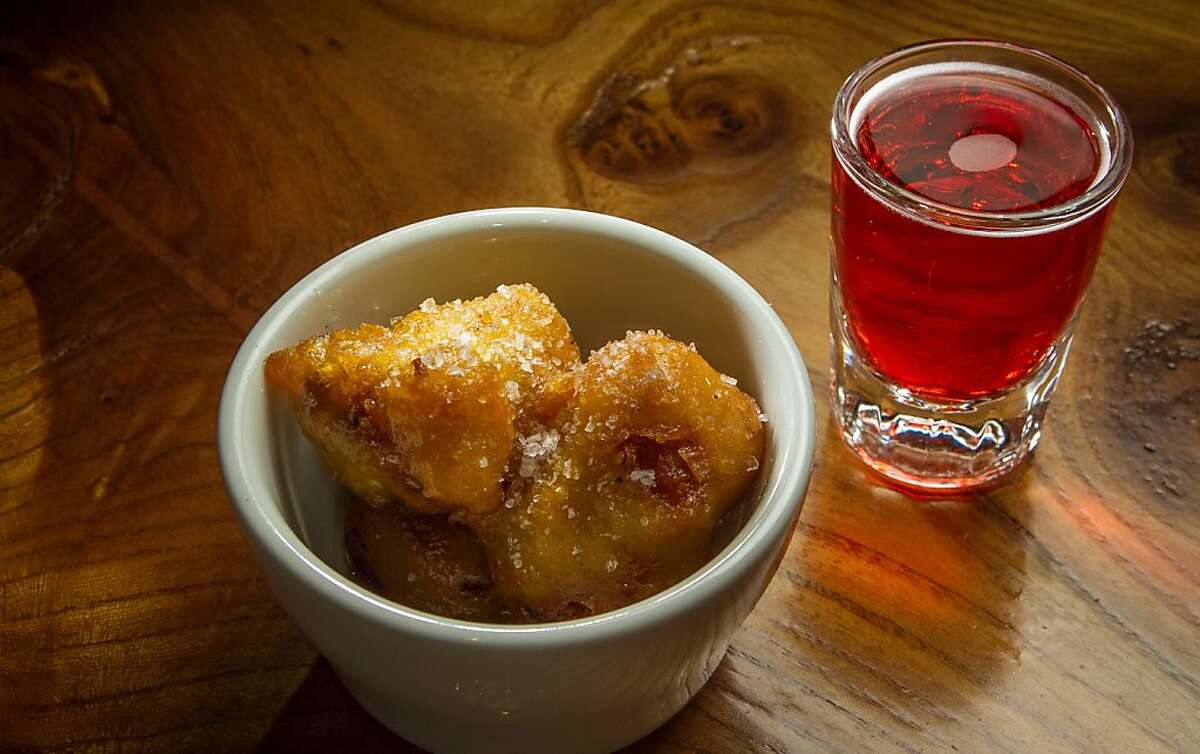 The Pork Belly Donuts with the Mystery Shot at the Willows in San Francisco, Calif., is seen on Thursday, October 10th, 2013.