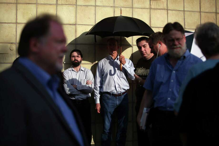 Cruz supporters wait for doors to open before the rally on Monday, Oct. 21, 2013, in Houston. Photo: Mayra Beltran, Houston Chronicle / © 2013 Houston Chronicle