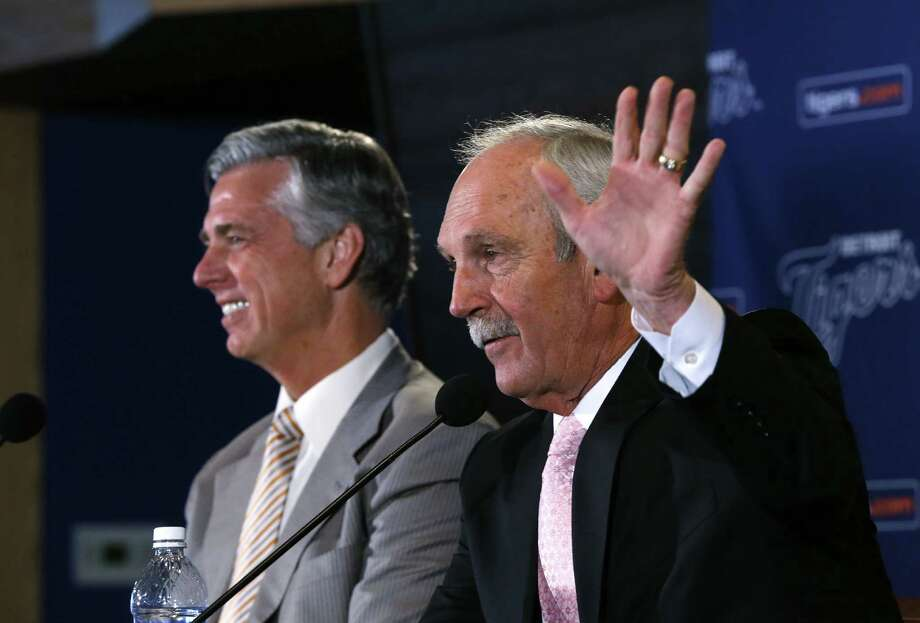 Tigers manager Jim Leyland (right) said he told general manager Dave Dombrowski in September he planned to retire at the end of the season. Photo: Paul Sancya / Associated Press