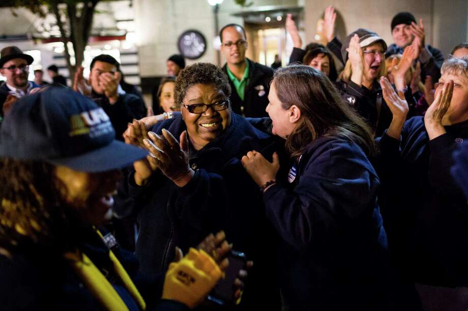 Celebration ensues after a cancelled grocery strike by way of a tentative deal to keep grocery workers on the job Monday, Oct. 21, 2013, in Westlake Park in downtown Seattle. Employees will vote on the details in coming days. Photo: JORDAN STEAD, SEATTLEPI.COM / SEATTLEPI.COM