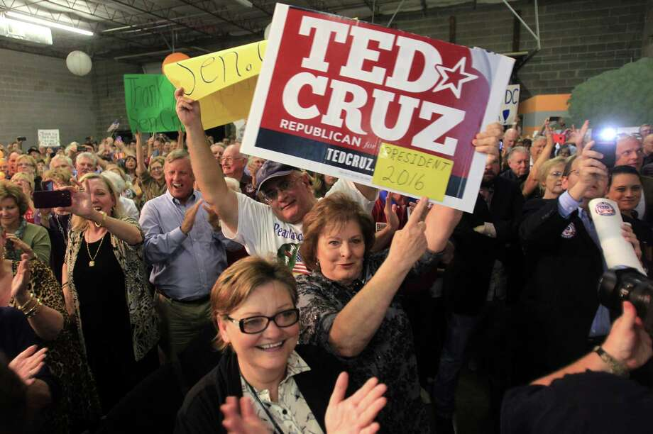 Supporters cheer for speaker introducing Senator Ted Cruz during his Welcome Home event at King Street Patriots on Monday, Oct. 21, 2013, in Houston. Photo: Mayra Beltran, Houston Chronicle / © 2013 Houston Chronicle