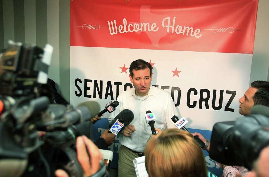 Senator Ted Cruz addresses the media after his Welcome Home event at King Street Patriots on Monday, Oct. 21, 2013, in Houston. Photo: Mayra Beltran, Houston Chronicle / © 2013 Houston Chronicle