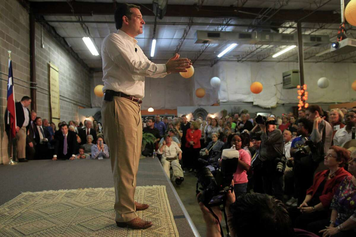 Senator Ted Cruz addresses his supporters during the Welcome Home event at King Street Patriots on Monday, Oct. 21, 2013, in Houston.