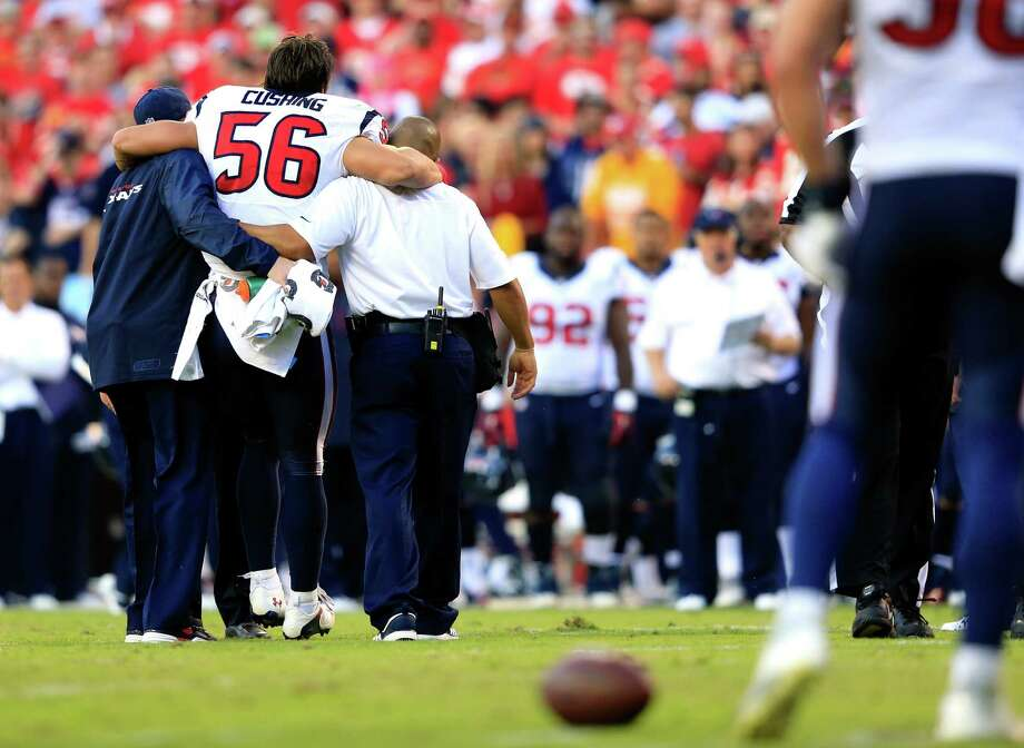 Inside linebacker Brian Cushing is done for the season after tearing the anterior cruciate ligament in his left knee. Cushing suffered the same injury last season in Week 5. Photo: Jamie Squire / Getty Images