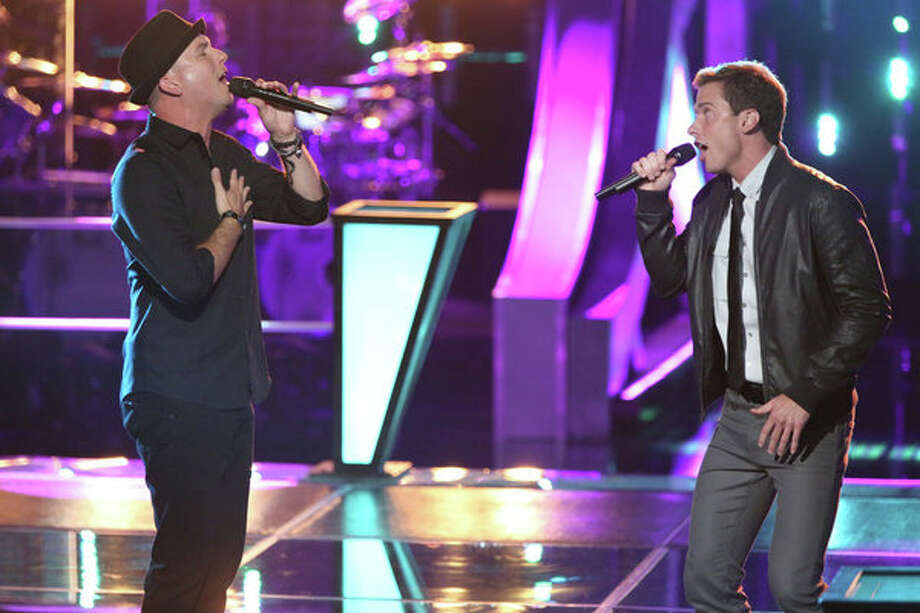"THE VOICE -- ""Battle Rounds"" Episode 509 -- Pictured: (l-r) Josh Logan, Michael Lynch -- (Photo by: Justin Lubin/NBC) Photo: NBC, Tyler Golden/NBC / 2013 NBCUniversal Media, LLC"