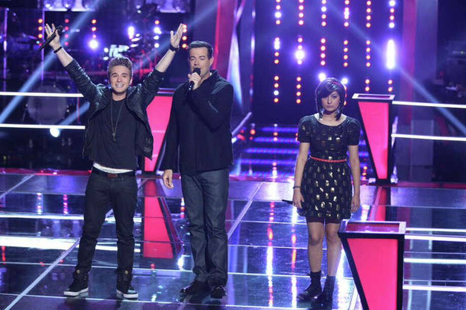 "THE VOICE -- ""Battle Rounds"" Episode 509 -- Pictured: (l-r) George Horga Jr., Carson Daly, Juhi Pathak -- (Photo by: Justin Lubin/NBC) Photo: NBC, Tyler Golden/NBC / 2013 NBCUniversal Media, LLC"