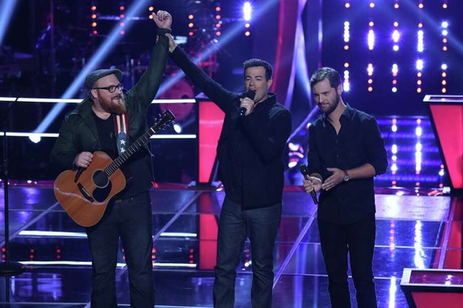 "THE VOICE -- ""Battle Rounds"" Episode 509 -- Pictured: (l-r) Austin Jenckes, Carson Daly, Brian Pounds  -- (Photo by: Justin Lubin/NBC) Photo: Justin Lubin/NBC / 2013 NBCUniversal Media, LLC"
