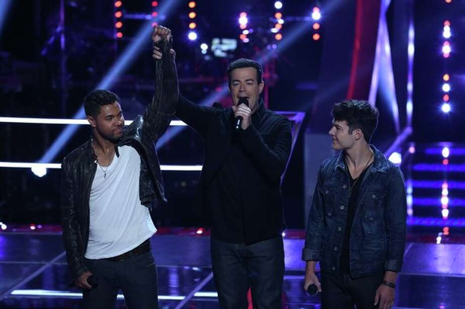 "THE VOICE -- ""Battle Rounds"" Episode 509 -- Pictured: (l-r) James Irwin, Carson Daly, Matt Cermanski -- (Photo by: Justin Lubin/NBC) Photo: Justin Lubin/NBC / 2013 NBCUniversal Media, LLC"