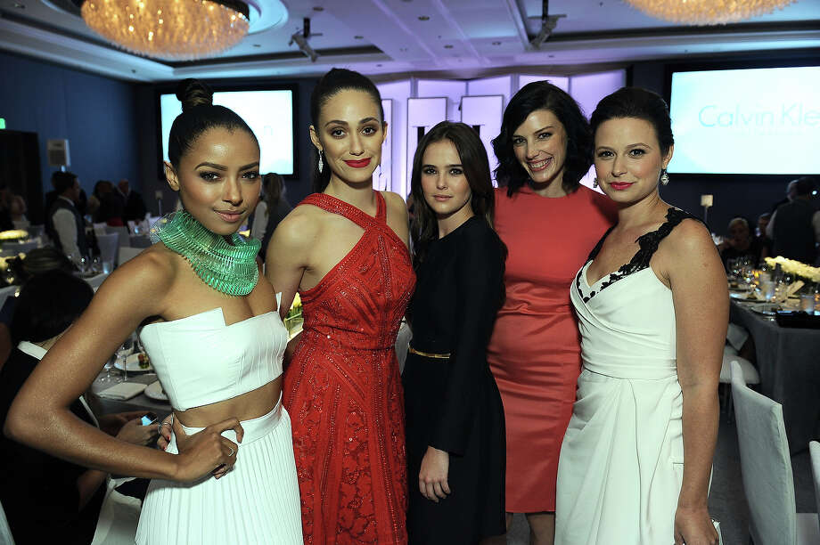 "From left, actresses Kat Graham, Emmy Rossum, Zoey Deutch, Jessica Pare and Katie Lowes attend the ELLE 20th annual ""Women in Hollywood"" event at the Four Seasons Hotel on Monday, Oct. 21, 2013 in Los Angeles. Photo: Jordan Strauss, Jordan Strauss/Invision/AP / Invision"