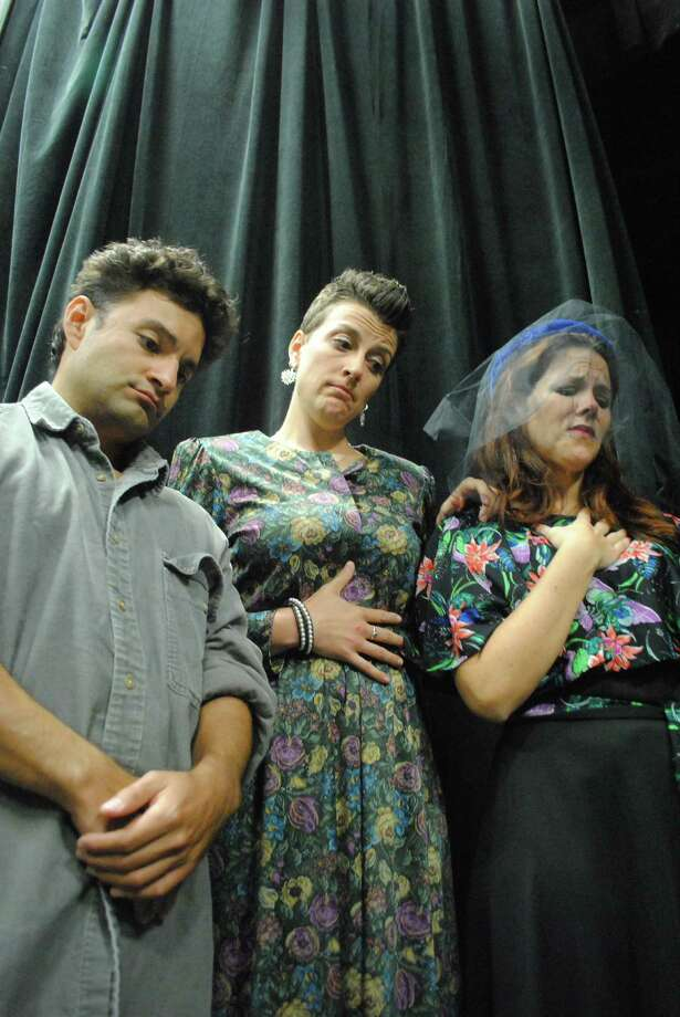 "J. J. Gonzalez (from left), Molly Cox and Taryn Toth play grieving family members in the Sheldon Vexler Theatre's staging of ""Dearly Departed."" Photo: Courtesy Dylan Brainard"