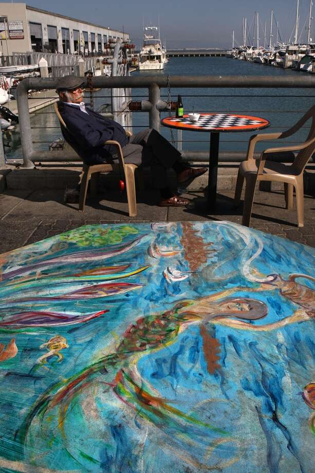 San Francisco artist Saul Levy painted this outdoor table at the Java House in San Francisco. Photo: Liz Hafalia, The Chronicle