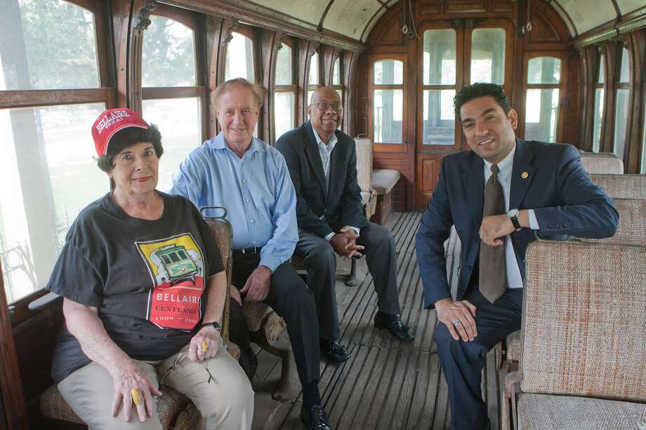 Bellaire Historical Society members Lynn McBee, left, Patrick Durio, Winfred Frazier and Randy McKinney seek to increase awareness of local history, including the role the Bellaire Trolley played in the community. Photo: R. Clayton McKee, Freelance / © R. Clayton McKee