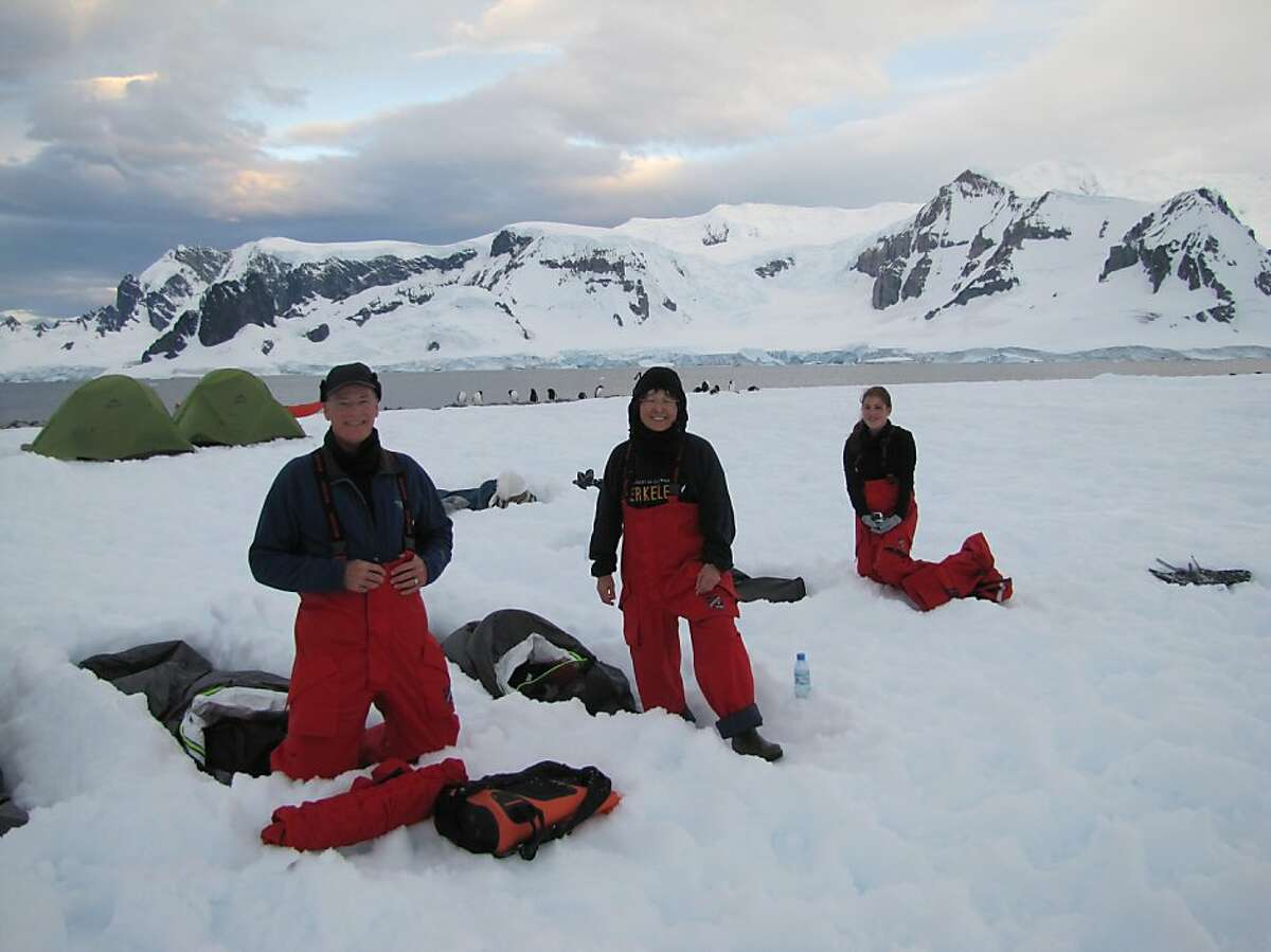 Karl, Anne, and Emily camping out in Antarctica