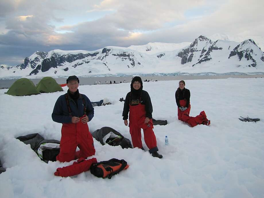 Karl Stinson, Anne Matsushino and Emily Stinson camp in Antarctica. Photo: Karl Stinson
