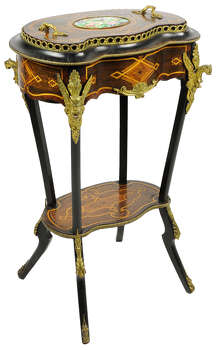 A NAPOLEON III ROSEWOOD JARDINIERE WITH COVER 