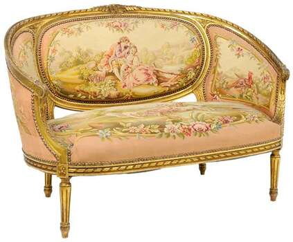19th CENTURY LOUIS XVI STYLE GILTWOOD CANAPE 