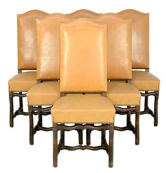 SIX ANTIQUE LOUIS XIII STYLE WALNUT CHAIRS 