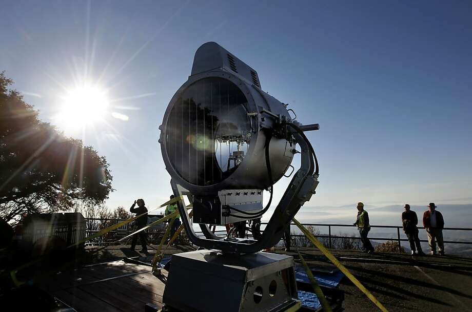 The beacon is prepared for installation atop the summit building at Mt. Diablo, Calif. on Tuesday Oct. 22, 2012. The historic aviation beacon that has sat atop Mt. Diablo since 1941 was returned to the summit after undergoing significant repairs. Photo: Michael Macor, The Chronicle