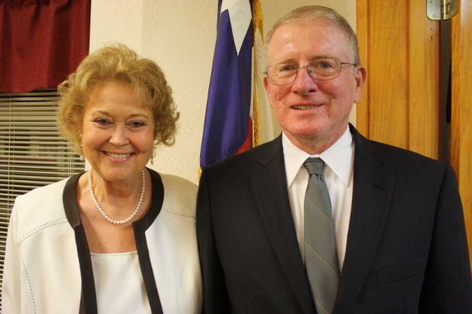 Newly hired Jasper Police Chief Robert MacDonald stands next to his wife, Frances. Photo: Steve W. Stewart