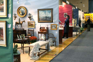 The spacious environs of the school gymnasium offers plenty of display area during the 27th annual Washington Antique Show, hosted Oct. 4-6, 2013 at Washington Primary School by the Gunn Memorial Library & Museum.