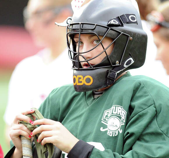 Greenwich golaie Freddie Bancroft during a break in the action of the high school field hockey match