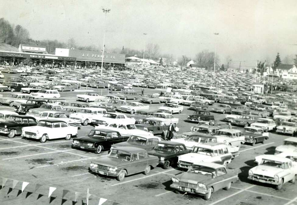 Historic photo of the JC Penney store parking lot Oct. 17, 1965, at Latham Corners in Colonie, N.Y. (Times Union archive)