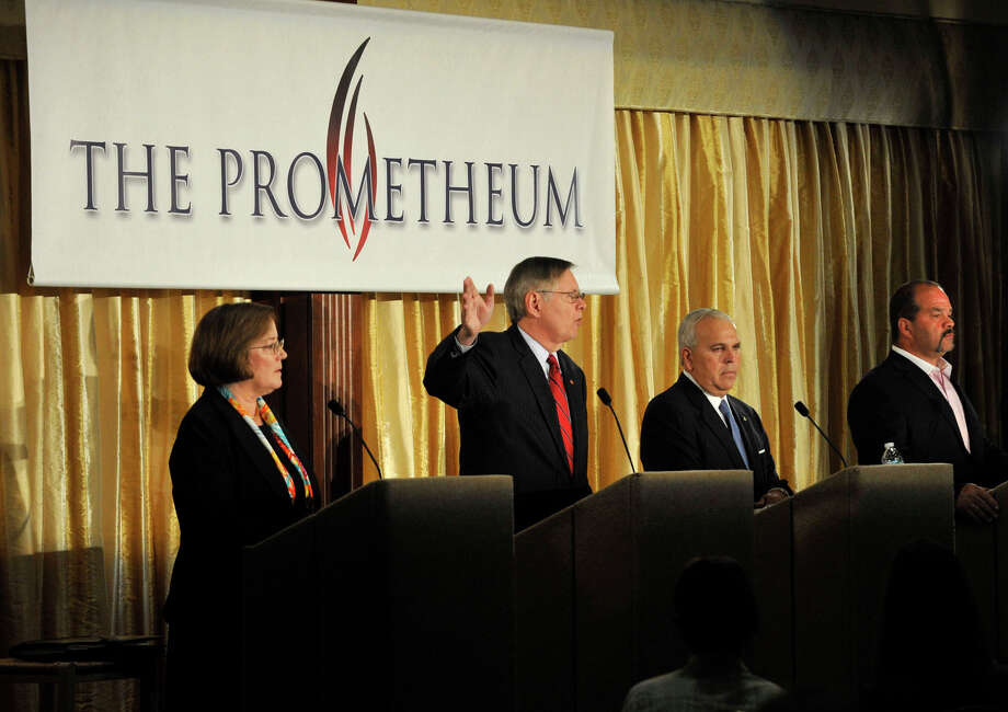 Mayoral candidates from left Kathleen Murphy, David Martin, Michael Fedele and John Zito take part in The Prometheum Stamford Mayoral Debate at the Italian Center of Stamford, Conn., on Tuesday, Oct. 22, 2013. Photo: Jason Rearick / Stamford Advocate