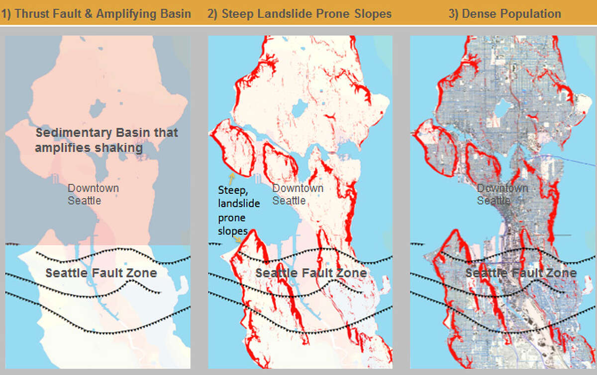 Why Seattle is particularly vulnerable to earthquake-triggered landslides: First, the city sits on a known earthquake fault and a sedimentary basin that amplifies seismic waves. Secondly, Seattle is full of hills. The red areas show landslide risk zones. (Not shown is amount of rain, which makes things worse). Source: Kate Allstadt, Art Frankel and John Vidale, from 2013 earthquake landslide funded by U.S. Geological Study.