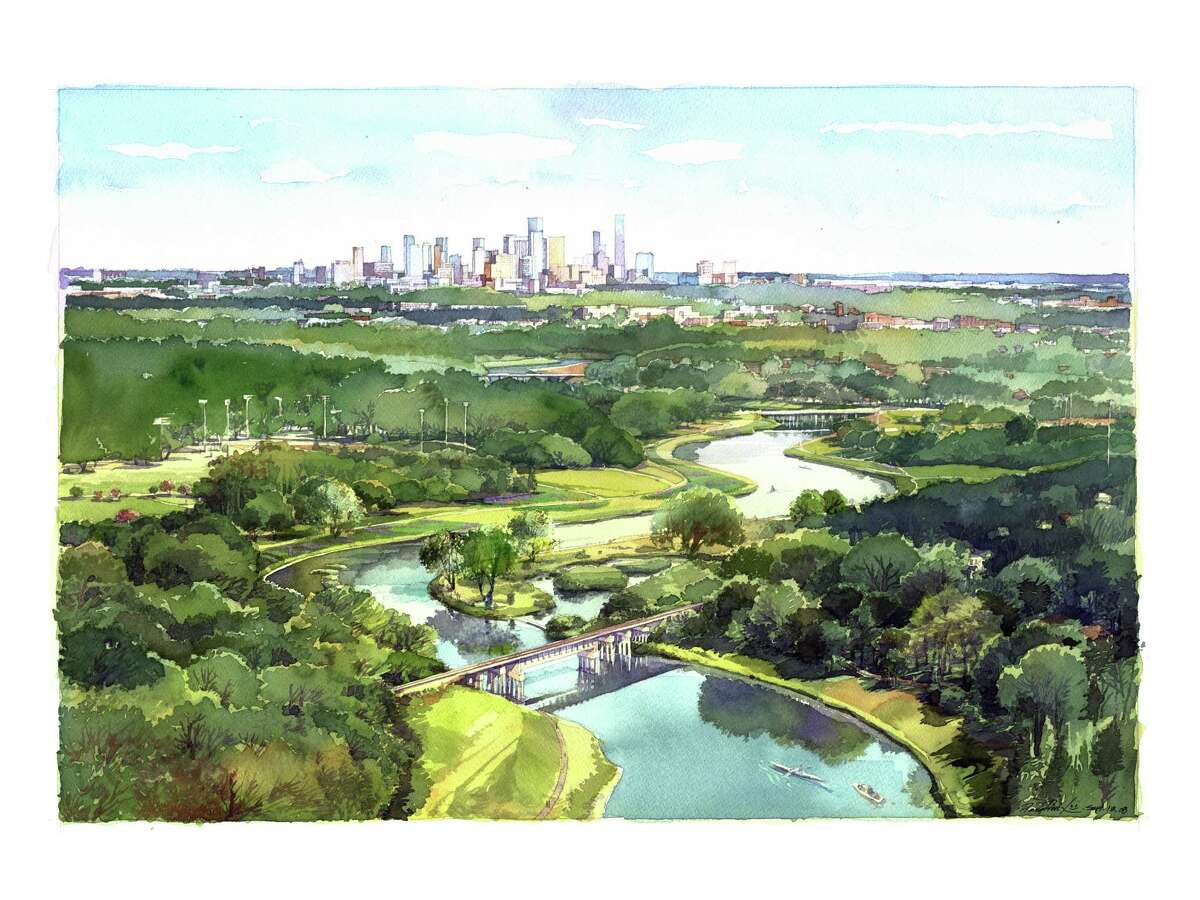 An artist rendering depicts a vista of the planned Bayou Greenways 2020 project.
