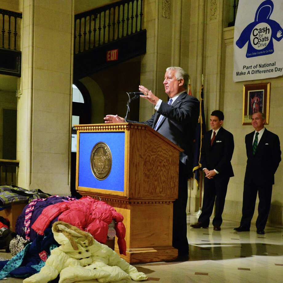 Albany Mayor Jerry Jennings announces this yearOs Cash for Coats Drive Tuesday Oct. 22, 2013, at City Hall in Albany, NY.  The community-based program collects funds to purchase new winter clothing items for needy school-aged children in Albany schools.  (John Carl D'Annibale / Times Union) Photo: John Carl D'Annibale / 00024320A
