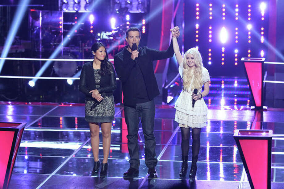 "THE VOICE -- ""Battle Rounds"" Episode 510 -- Pictured: (l-r) Cilla Chan, Carson Daly, Holly Henry -- (Photo by: Tyler Golden/NBC) Photo: NBC, Tyler Golden/NBC / 2013 NBCUniversal Media, LLC"