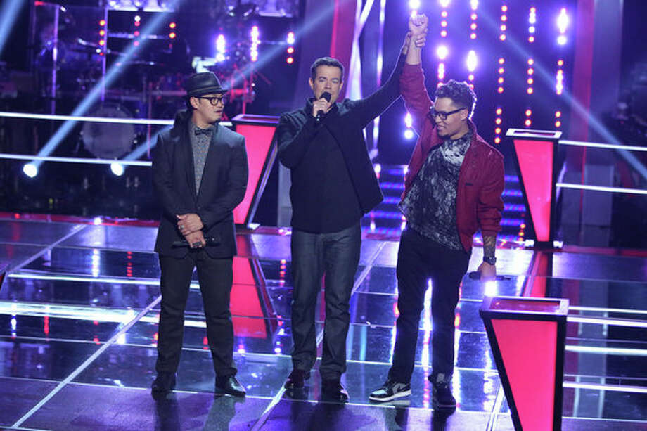 """THE VOICE -- """"Battle Rounds"""" Episode 510 -- Pictured: (l-r) Barry Black, Carson Daly, Preston Pohl -- (Photo by: Tyler Golden/NBC) Photo: NBC, Tyler Golden/NBC / 2013 NBCUniversal Media, LLC"""