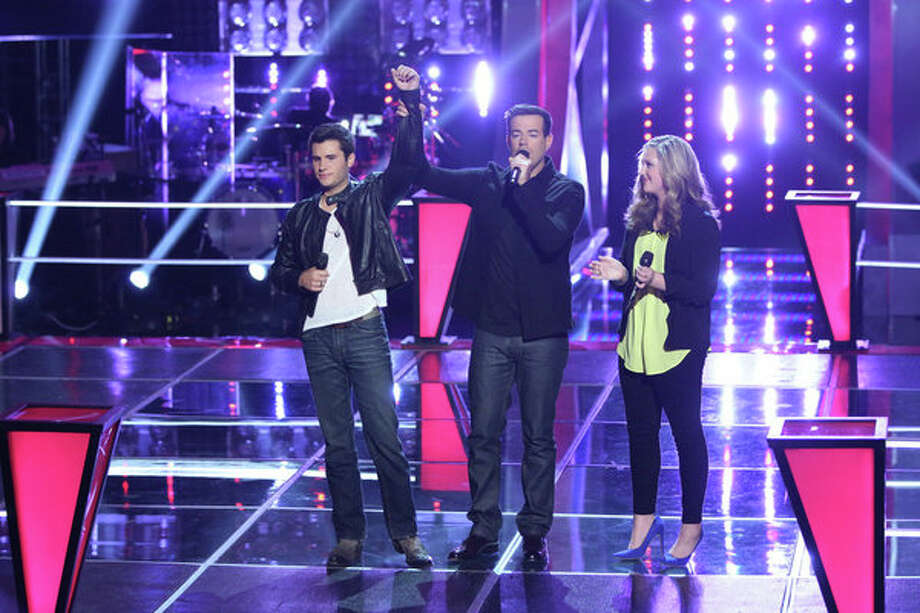 """THE VOICE -- """"Battle Rounds"""" Episode 510 -- Pictured: (l-r) Brandon Chase, Carson Daly, Emily Randolph -- (Photo by: Tyler Golden/NBC) Photo: NBC, Tyler Golden/NBC / 2013 NBCUniversal Media, LLC"""